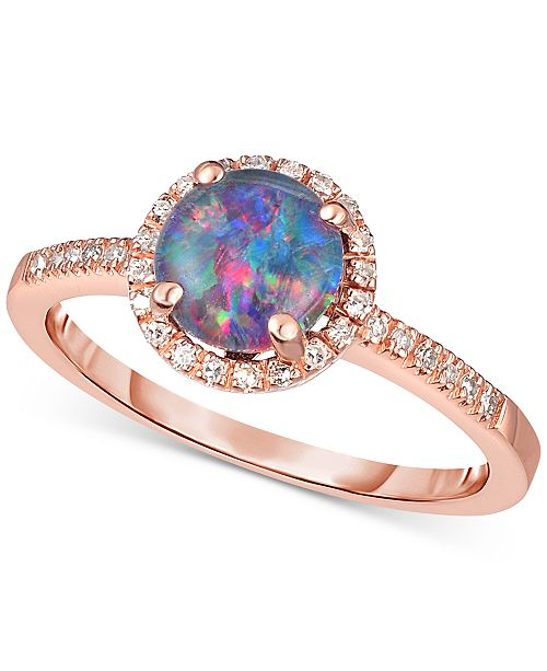 Macy's Opal Triplet (1 ct. t.w.) & Diamond (1/8 ct. t.w.) Ring in 14k Rose Gold