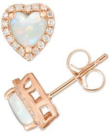 Opal (1/2 ct. t.w.) & Diamond (1/6 ct. t.w.) Heart Halo Stud Earrings