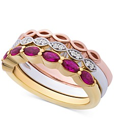 3-Pc. Set Lab-Created Ruby (9/10 ct. t.w.) & White Sapphire Accent Stack Rings in Sterling Silver, Gold-Plate & Rose Gold-Plate