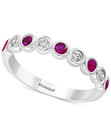 EFFY® Sapphire (1/4 ct.t.w.) & Diamond (1/6 ct.t.w.) in 14k White Gold, Also available in Emerald and Certified Ruby
