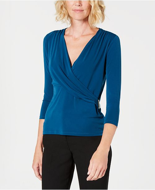 Petite Printed Faux-Wrap Top, Created for Macy's