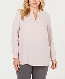 Anne Klein Plus Size Split-Neck Top