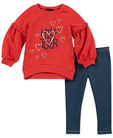 Tommy Hilfiger Toddler Girls 2-Pc. Ruffle Top & Denim Leggings Set