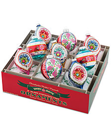 "Christopher Radko Christmas Confetti 2.5"" 9-Pc. Decorated Rounds & Tulips with Reflectors"