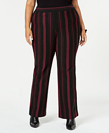 I.N.C. Plus Size Striped Ponté-Knit Pants, Created for Macy's