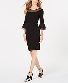 Calvin Klein Illusion Bell-Sleeve Sheath Dress