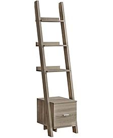 """Storage Drawer 69""""H Bookcase With Ladder in  Dark Taupe"""