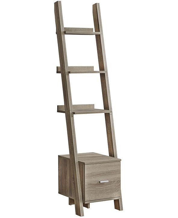 "Monarch Specialties Storage Drawer 69""H Bookcase With Ladder in  Dark Taupe"