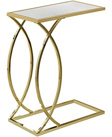 Gold Metal With Mirror Top Edgeside Accent Table