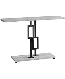 """Nickel Metal 48""""L Console Accent Table in  Grey Cement"""