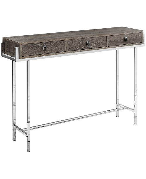 "Monarch Specialties Chrome Metal 48""L Accent Table in  Dark Taupe"