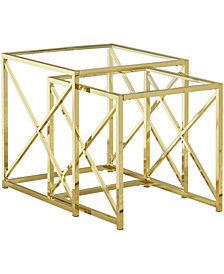 Monarch Specialties Tempered Glass 2 Pcs Set Nesting Table in Gold