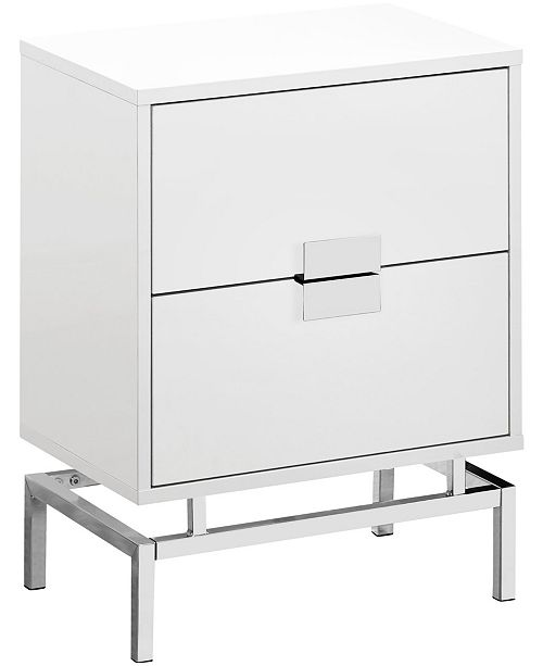 """Monarch Specialties Chrome Metal 24""""H Night Stand Accent Table in Glossy White"""