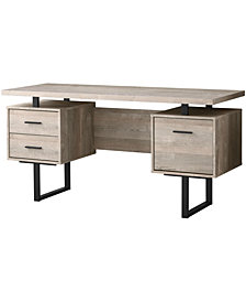 "Monarch Specialties Wood Grain  60""L  Computer Desk In Taupe"