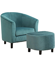 Monarch Specialties Quilted 2 Pcs Set Accent Chair in Turquoise