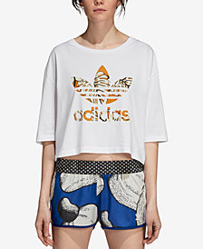adidas Originals Cotton Printed-Logo Cropped T-Shirt