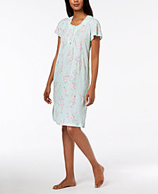 Miss Elaine Printed Short Nightgown