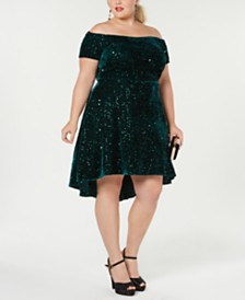 Morgan & Company Trendy Plus Size Velvet Off-The-Shoulder Dress
