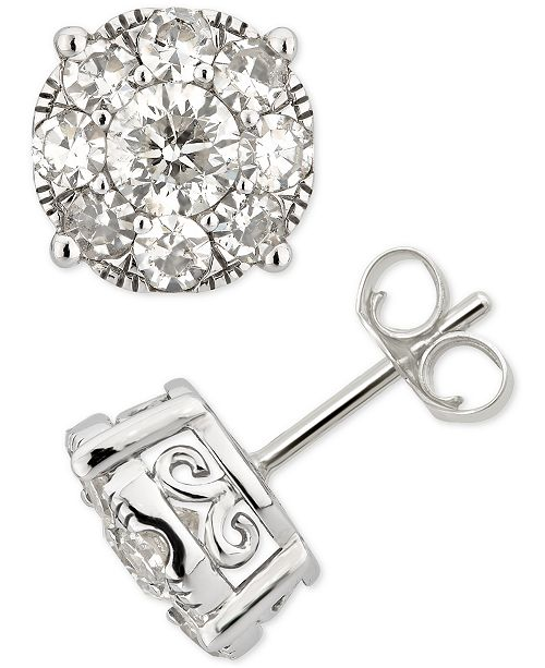 Macy's Diamond Cluster Stud Earrings (2 ct. t.w.) in 14k White Gold