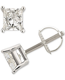Diamond Princess Stud Earrings (1 ct. t.w.) in 14k White Gold