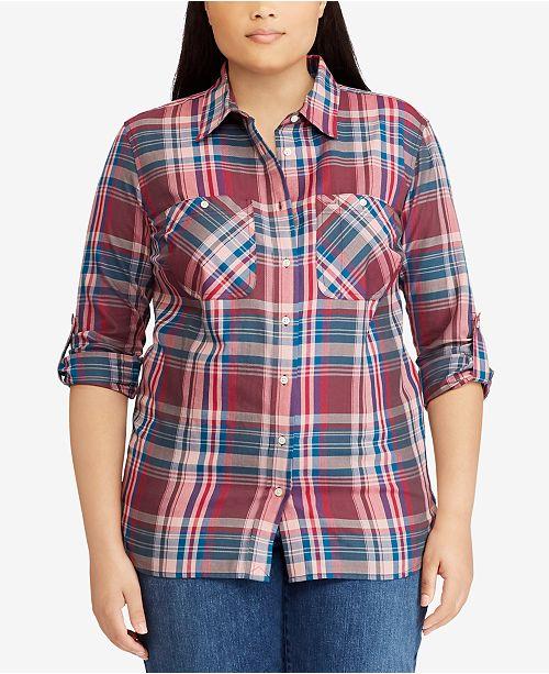 8ffefbb1d82 Lauren Ralph Lauren. Plus Size Plaid Cotton Shirt. 1 reviews. 1 Questions    0 Answers. main image  main image