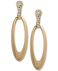 Anne Klein Gold-Tone Pavé Oval E-Z Comfort Clip-On Drop Earrings