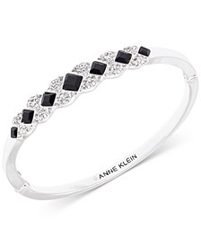 Anne Klein Silver-Tone Crystal Bangle Bracelet, Created for Macy's