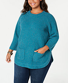 John Paul Richard Plus Size Flecked Chenille Sweater