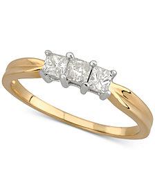 Diamond Three-Stone Band (1/2 ct. t.w.) in 14k Gold