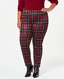 John Paul Richard Plus Size Plaid Slim-Leg Pants