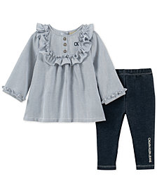 Calvin Klein Baby Girls 2-Pc. Ruffle Tunic & Leggings Set