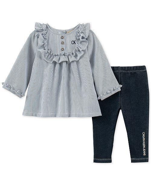 d1c6a61988a5 Calvin Klein Baby Girls 2-Pc. Ruffle Tunic   Leggings Set   Reviews ...