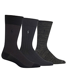 Polo Ralph Lauren Men's Big & Tall 3-Pk. 3 Pack Super-Soft Birdseye Dress Socks