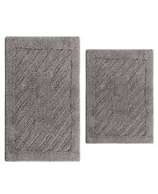 Diagonal Racetrack 2 Pc Cotton Bath Rug Set
