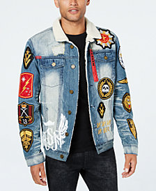 Reason Men's Patches Trucker Jacket with Fleece-Lined Collar