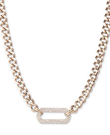 "DKNY Gold-Tone Pavé Link Pendant Necklace, 16"" + 3"" extender, Created for Macy's"