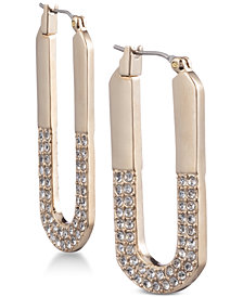 DKNY Gold-Tone Pavé Elongated Hoop Earrings, Created for Macy's