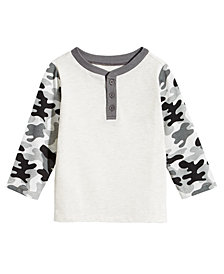 First Impressions Baby Boys Camo-Sleeve Henley T-Shirt, Created for Macy's