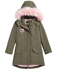 S. Rothschild Big Girls Free Your Heart Hooded Jacket with Faux-Fur Trim