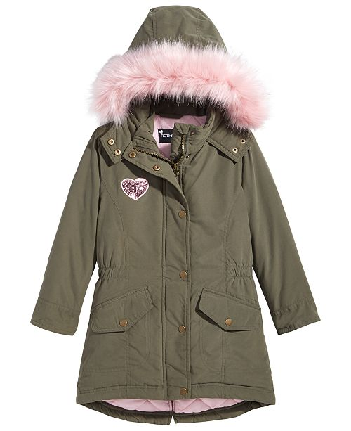 c4a8e7184 ... S Rothschild & CO S. Rothschild Toddler Girls Hooded Anorak Jacket with  Faux-Fur ...