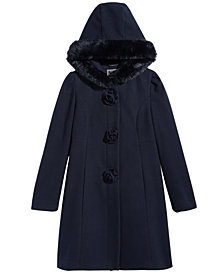 S Rothschild & CO Little Girls Hooded Coat with Faux Fur Trim
