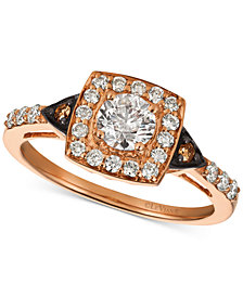 Le Vian Chocolatier® Diamond Square Halo Ring (7/8 ct. t.w.) in 14k Rose Gold