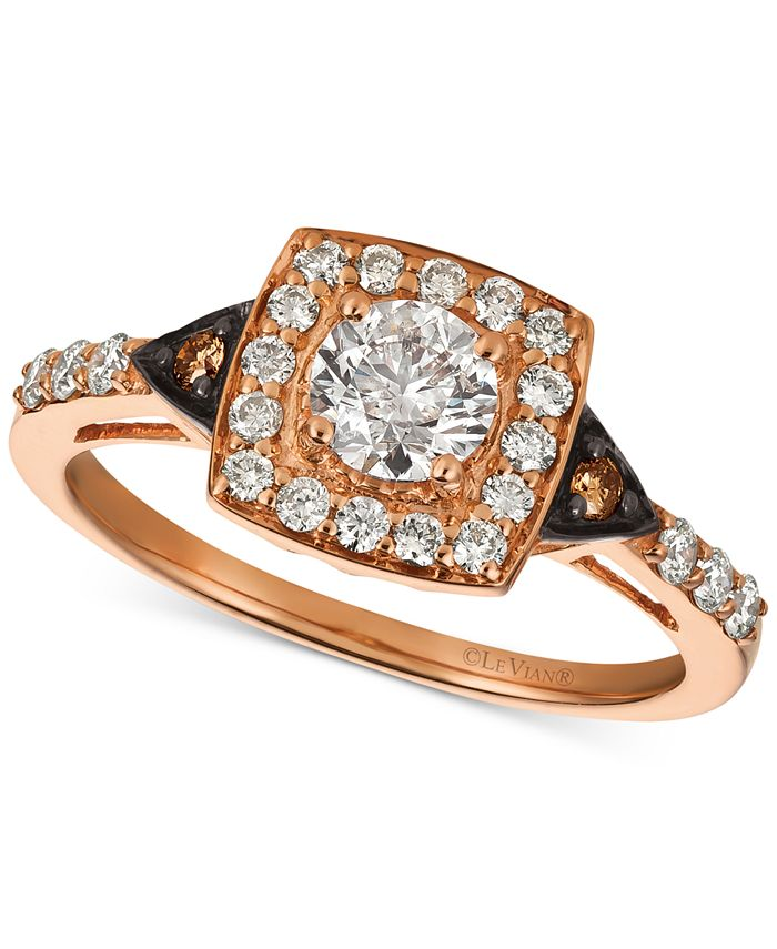 Le Vian - Diamond Square Halo Ring (7/8 ct. t.w.) in 14k Rose Gold