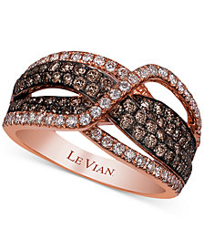 Le Vian Chocolatier® Diamond Crisscross Statement Ring (1-1/5 ct. t.w.) in 14k Rose Gold
