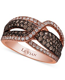 Le Vian Chocolatier® Diamond Crisscross Statement Ring (1-1/5 ct. t.w.) in 14k Rose Gold