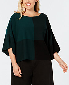 Eileen Fisher Tencel® Plus Size Colorblocked Sweater