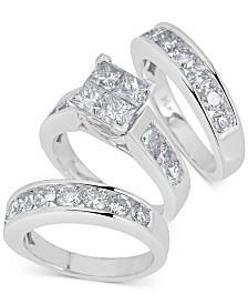 Diamond 3-Pc Princess Bridal Set (4 ct. t.w.) in 14k White Gold