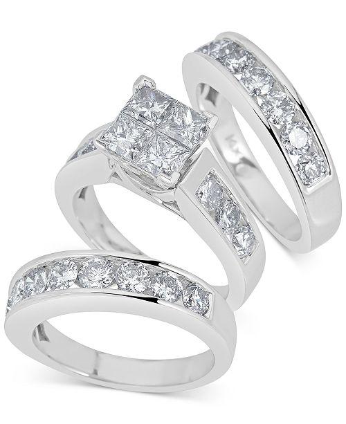 Macy's Diamond 3-Pc Princess Bridal Set (4 ct. t.w.) in 14k White Gold