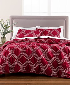 Martha Stewart Collection Gramercy Gate Merlot 100% Cotton Quilt and Sham Collection, Created for Macy's