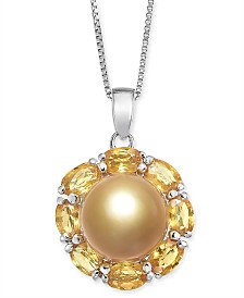 "Cultured Golden South Sea Pearl (10mm) & Yellow Sapphire (3-1/5 ct. t.w.) 18"" Pendant Necklace in Sterling Silver"